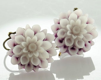 Dangle Earrings Flower Jewelry Lavender White Mum Flower Earrings Romantic Jewelry Nature Jewellery Botanical, Argentina