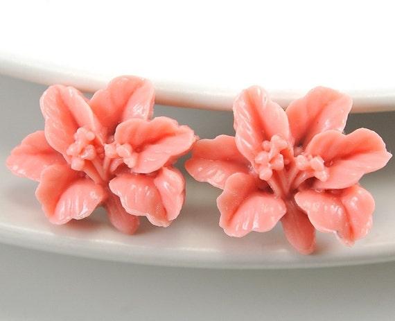 Flower Earrings. Coral Lily. Earrings Stud. Post Earrings. Argentina Earrings in  Coral Pink Lily