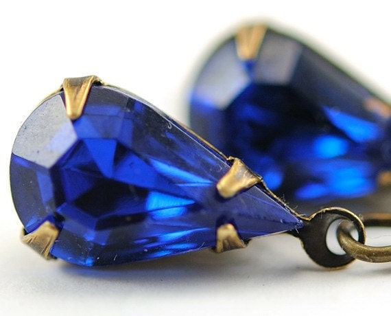 Blue Earrings Dangle Earrings Vintage Jewelry Capri Blue Jewel Earrings - Sweden Earrings in  Capri Blue and Antiqued Brass