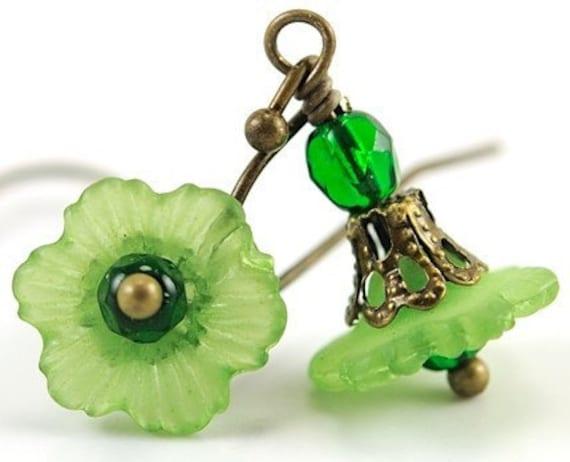 Green Flower Earrings Dangle Earrings Drop Earrings Emerald Czech Glass and Antiqued Brass . Japan Earrings in Green and Emerald