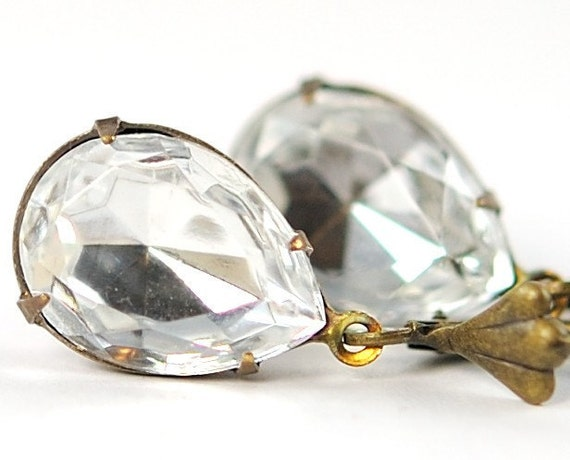 April Birthstone Earrings. Diamond Jewel Earrings. Dangle Earrings. Crystal Clear in Antiqued Brass. Sweden Earrings in Petite Clear Crystal