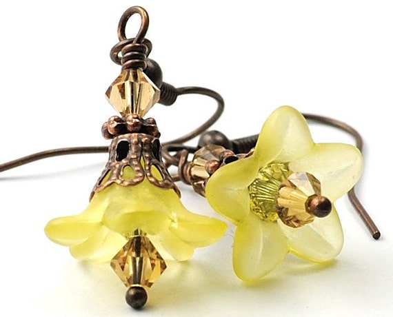 Dangle Earrings Mothers Day Jewelry - Yellow Flower Earrings with Swarovski Crystals and Antiqued Copper - Costa Rica in Yellow