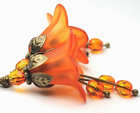 Spring Fashion. Beaded Jewelry. Burnt Orange Blossom Flower Earrings. France Earrings in Burnt Orange