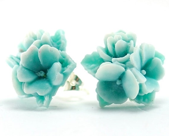 Flower Stud Earrings Post Earrings . Neon Fashion Two Tone Blue and White Flower Bouquet . Argentina Earrings in Blue and White