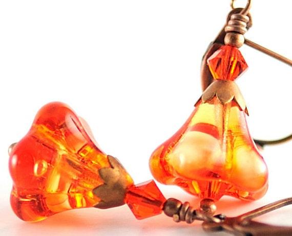 Halloween Jewelry Halloween Earrings - Gift For Her -  Fire Opal Czech Glass Earring Flower Earrings, Swarovski Crystals, Antiqued Copper