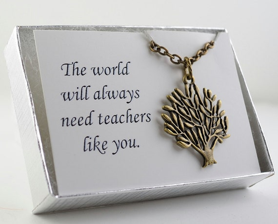 Tree Necklace. Earthy Tree Charm Necklace. Pendant Metal Necklace in Antiqued Brass. Teacher Gift. Personalized Card.