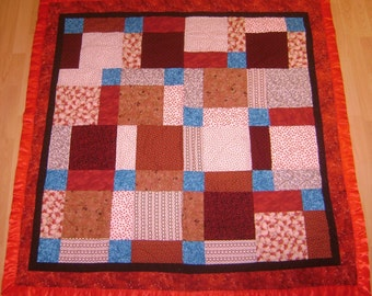 Red and Torquoise baby quilt