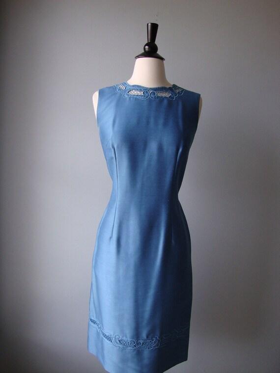 1960s Jackie O / Mad Men Suit Dress // Blue