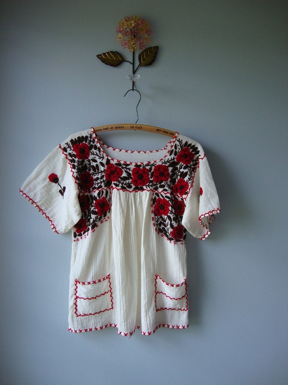 vintage mexican gauze embroidered blouse