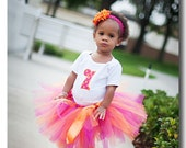 Raspberry Peaches Birthday Tutu 18 waist 8 length fits most 1 to 2 yr olds 1st 2nd Birthday