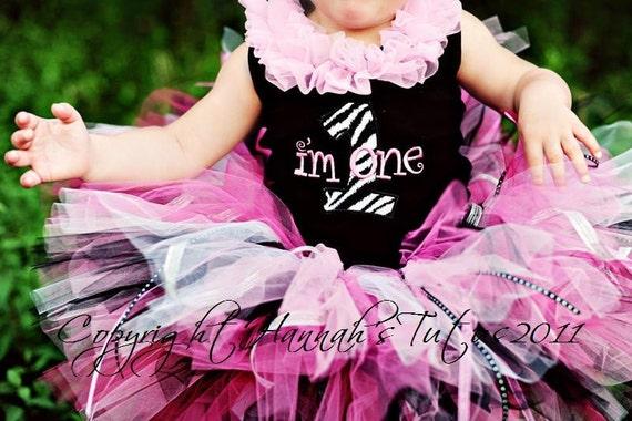 Birthday HOT ZEBRA FRILLS Tutu Newborn Infant 1st 2nd 3rd 4th Birthday Custom madePhoto Shoot Prop - Pinks Black White