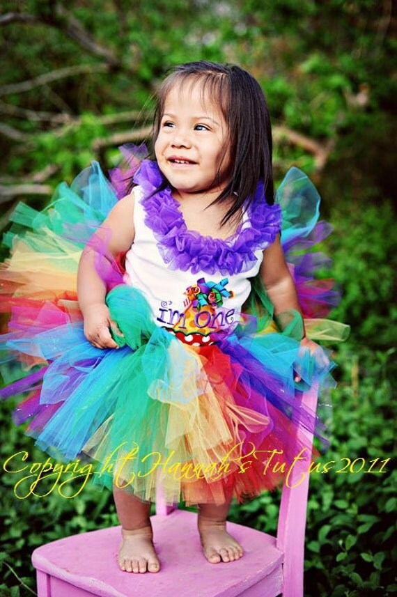 Tutu Rainbow Hoots Birthday TUTU 16 waist 8 length fits most 6 9 12 mth girls 1st birthday candyland party