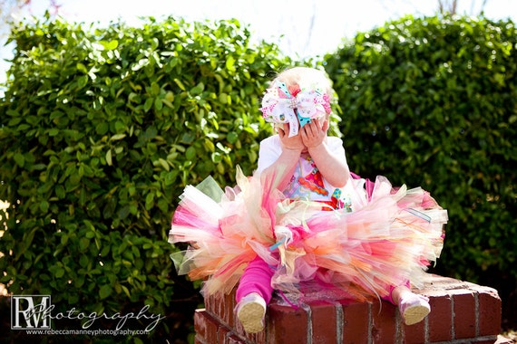 Tutu Dottie's Birthday Bash TUTU 17 waist 9 length fits most 1 to 2 yr olds 1st 2nd Birthday
