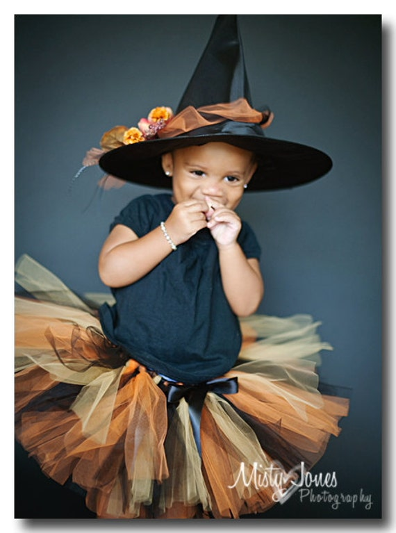 Orange Black Gold Tutu Classic Witch Tutu READY2SHIP 19 waist 11 length fits most 3 yr olds Halloween