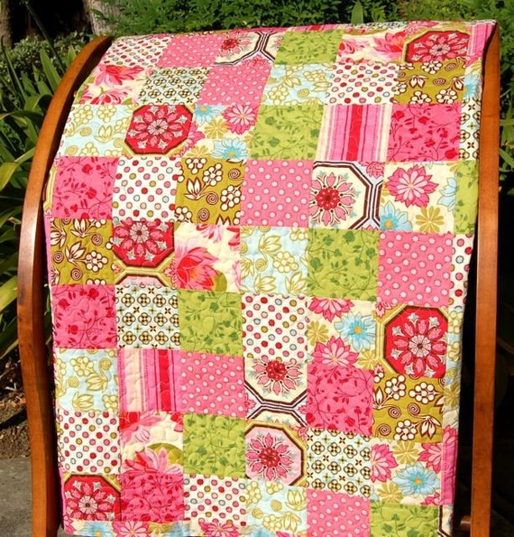 FREE US Shipping Charmed I'm Sure Lap Quilt in Ginger Blossom by Sandi Henderson 54 Inches Square