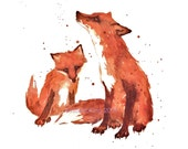 FOX, Nursery FOX Print, Little Brother Gift, SMALL, 5x7 print, children art