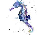 Blue SEAHORSE Print, SMALL, 5x7 print, Best Friend Gift, seahorse painting, seahorse art
