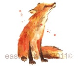 Fox Print, red fox,  fox art, woodland animals, fox, autumn decor, autumn art