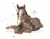 HORSE painting, Western Art, Foal print