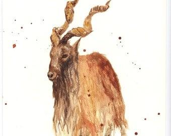 GOAT Print, capricorn gift, goat painting, capricorn,