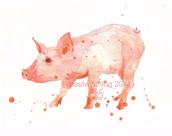 Watercolor PIGLET Print, kids wall art, 8x10 print, ready to frame, kids wall art, peppermint piglet, pig art, watercolor