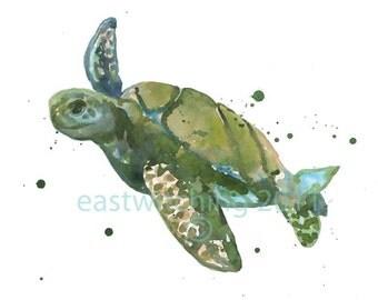 Watercolour  SEATURTLE print, Sea Turtle Print, SMALL 5x7 print, seaturtle, animal paintings