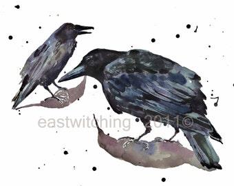 Birds Watercolor - RAVEN Print 8x10 inches - Raven Etiquette