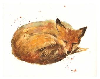 FOX Print, watercolor fox, ready to frame, FOX Art, fox, fox lover gift