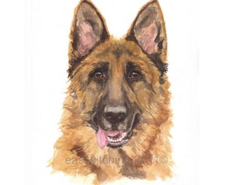 WATERCOLOR German Shepherd Dog painting, GSD painting, 8x10 print, dog lover gift, ready to frame, Art Print,