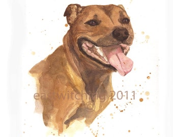 WATERCOLOR STAFFORDSHIRE DOG Print, Staffy, dog lover gift, 8x10 print, dog portrait