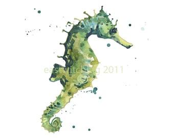 Seahorse Watercolor Print 8x10, seahorse art, beach house decor