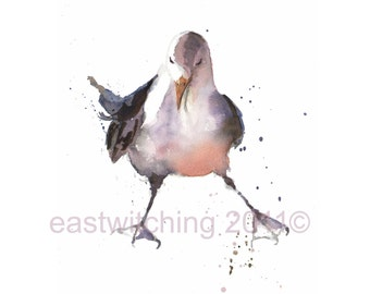 Watercolor Seagull Print, funny art, Ocean Love, seagull painting, beach house art, seagulls