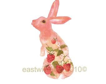 SHABBY CHIC Rabbit Print, Strawberry