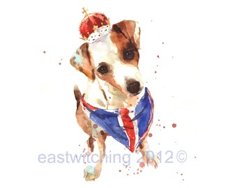 Jack Russell Art, rule britannia, union jack, red white blue, london