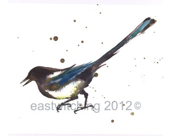 Watercolor Magpie print, magpies, bird art prints