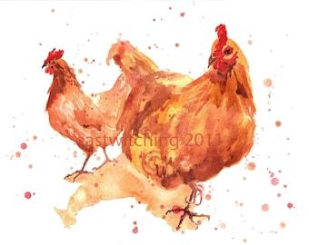Farmyard Hens, 8x10 print, hen paintings, hen, gift for grandma, watercolour hens