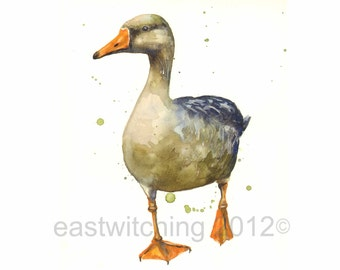 WATERCOLOR GOOSE Print, 8x10 print, ready to frame,country kitchen, goose
