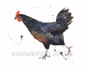 WATERCOLOR Chicken print, 8x10 print, watercolor,country kitchen, HEN Watercolor, chicken art