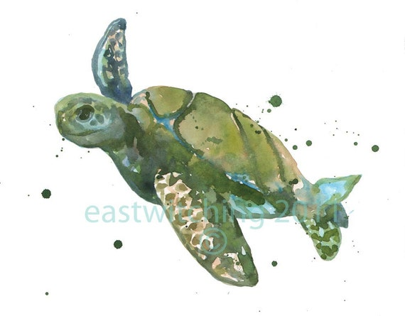 Watercolour Sea Turtle Print, kids wall art, animal paintings