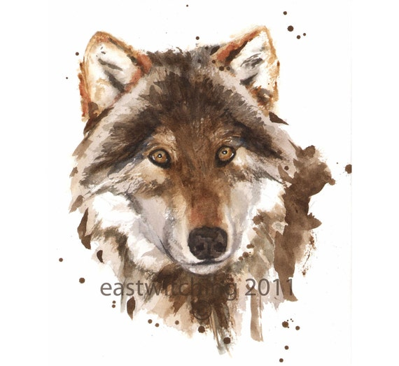 Wolf watercolor print, ready to frame, wolf lover gift, 8x10 print, watercolour wolf