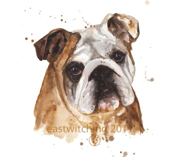 Puppy art BOXER Print dog paintings brown white by ...