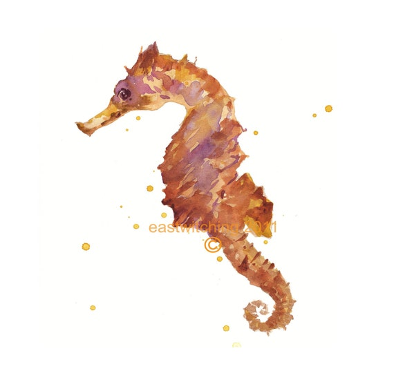 SEAHORSE Print, seahorse art, whimsical animal art