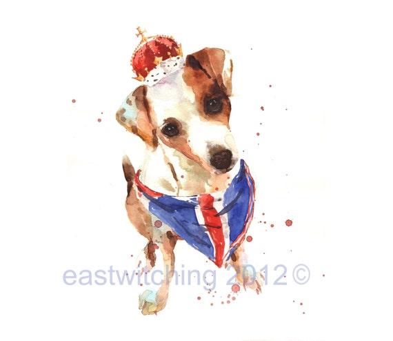 Jack Russell Art, rule britannia, union jack, red white blue, london
