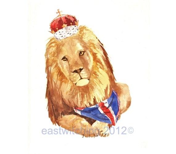 LION art, lion painting, Royal Lion Art Print 8x10 inches