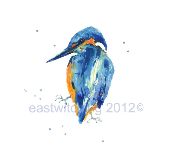 BIRD PAINTINGS - Watercolor KINGFISHER Print - 8x10 inches