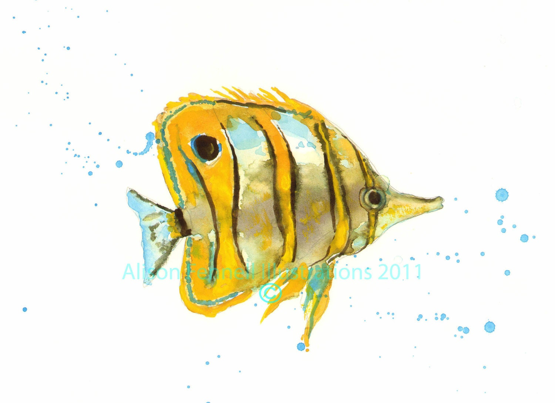 Tropical fish print fish painting fish print fish gift for for Watercolor fish painting