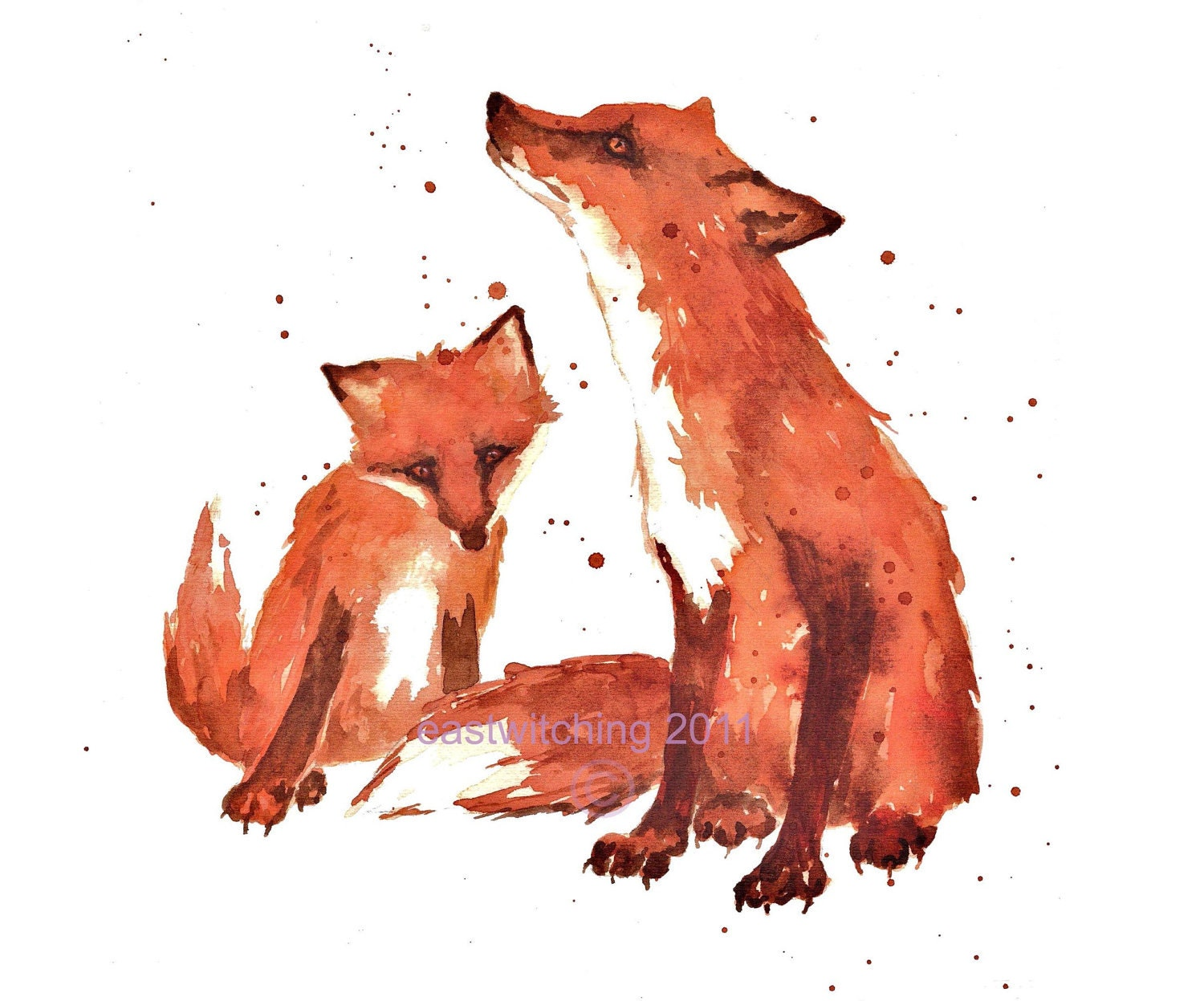Fox Watercolor Print 8x10 Ready To Frame By