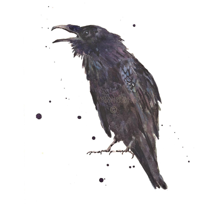 Raven Art Print Goth Gift raven gift for the bird lover