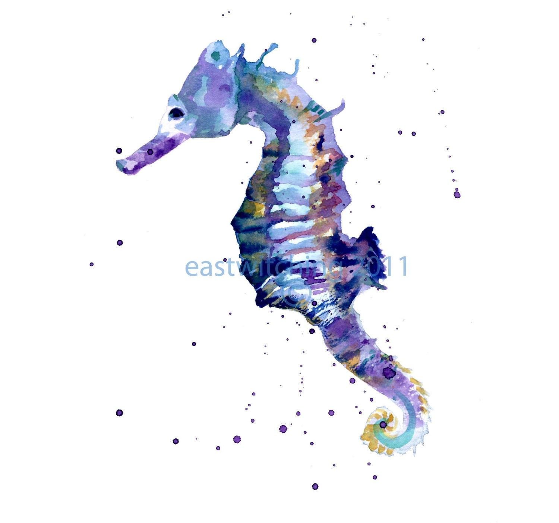 Blue Seahorse Print Small 5x7 Print Best Friend Gift