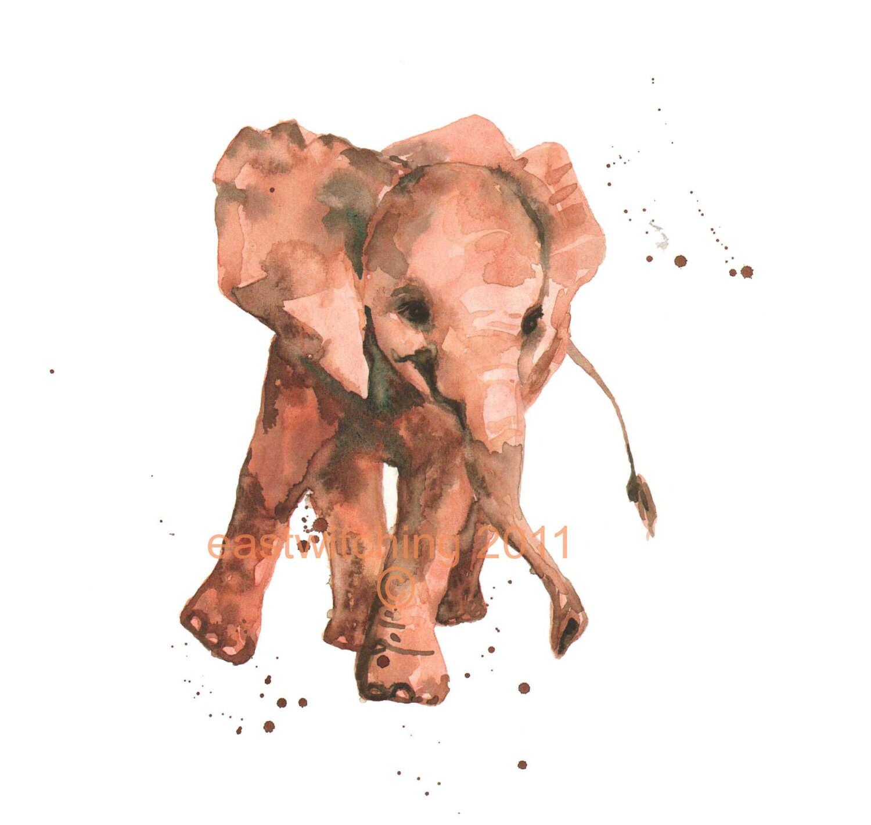 Watercolor Elephant Print Elephant Painting Kids Wall Art